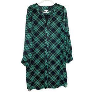 Charming Charlie Green Black Plaid Shirt Dress